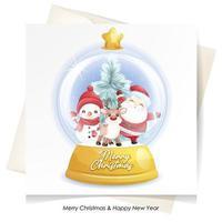 söt klotter jultomten, rådjur och snögubbe till jul med akvarellillustration vektor
