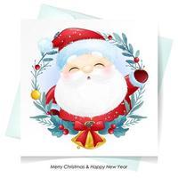 söt klotter jultomten till jul med akvarellillustration vektor