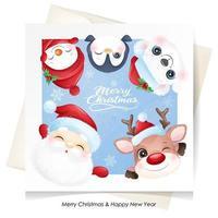 söt klotterdjur till jul med akvarellillustration vektor