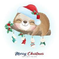 söt doodle sloth för juldag med akvarellillustration vektor