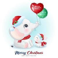 söt doodle elefant och kanin till juldagen med akvarell illustration vektor