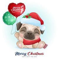 söt doodle mops för juldagen med akvarell illustration vektor