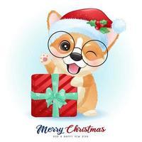 söt doodle corgi för juldagen med akvarell illustration vektor