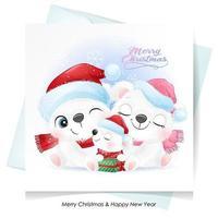 söt doodle isbjörnfamilj till jul med akvarellillustration vektor