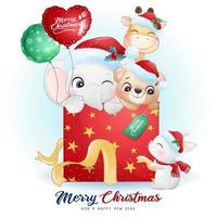 söta doodle djur för juldagen med akvarell illustration vektor