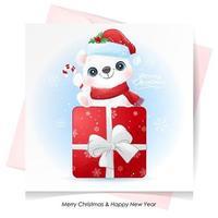söt doodle isbjörn till jul med akvarellillustration vektor