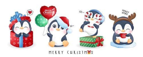 söta klotterpingviner för juldag med akvarellillustration vektor
