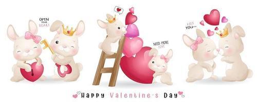 söt doodle kanin för alla hjärtans dag samling vektor