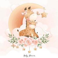 söt doodle giraff med blommig illustration vektor