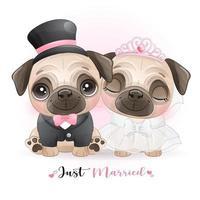 söta klotterhundar med bröllopskläder för alla hjärtans dag vektor