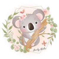 niedlicher Gekritzel-Koalabär mit Blumenillustration vektor