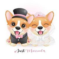 süße Gekritzelhunde mit Hochzeitskleidung zum Valentinstag vektor