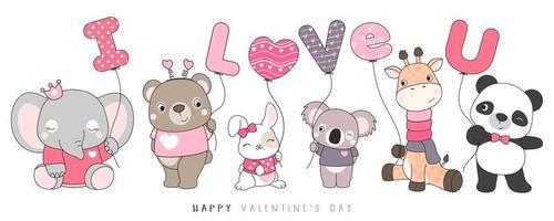 söta roliga doodle djur för alla hjärtans dag illustration vektor