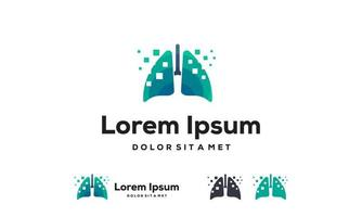 digitala lungor, pixel lungor logotyp design koncept, design koncept, logotyp, logotype element för mall vektor