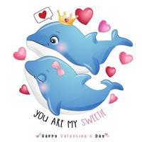 niedlicher Gekritzel-Delphin für Valentinstag vektor