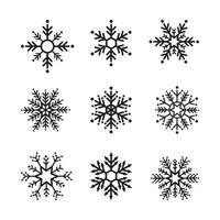 snöflinga vinter uppsättning svart isolerade nio ikon design på vit bakgrund. vektor illustration