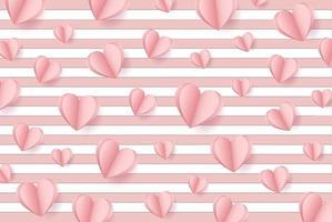 glad alla hjärtans dag. med kreativa rosa kärleksballongkoncept på pastellrosa bakgrund för kopieringsutrymme. minimalt koncept. vektor illustration