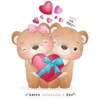niedlicher Gekritzelbär für Valentinstag vektor