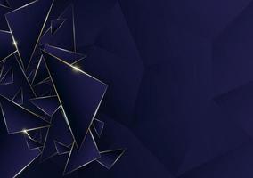Luxus goldene Linie des abstrakten polygonalen Musters mit dunkelblauem Schablonenhintergrund. Premium-Stil für Poster, Cover, Print, Artwork. Vektorillustration