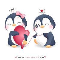 söt doodle pingvin för alla hjärtans dag vektor