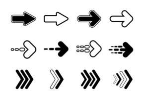 Satz schwarze flache Pfeile Symbolsammlung Design. Vektor Hintergrund