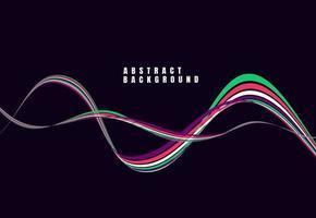 abstrakter dynamischer Wellenhintergrund mit buntem Linienentwurf für Abdeckung, Web, Plakat, Visitenkarte. Vektorillustration