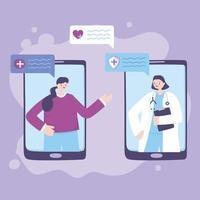 telemedicinskoncept med läkare och patient på smarttelefonen vektor