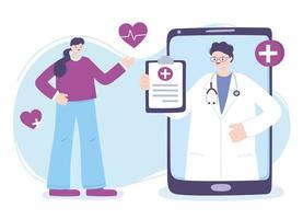 telemedicinskoncept med läkare på smarttelefonen med patient vektor