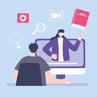 online-utbildning via dator vektor