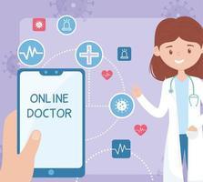 online vård med läkare och smartphone vektor