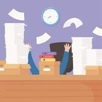 gestresster Geschäftsmann, Büroarbeit Frustration und Stress