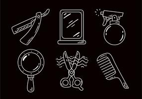 Friseur-Werkzeug-Entwurfs-Ikonen vektor