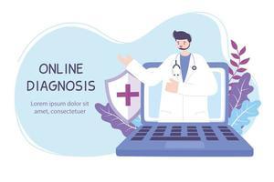 online diagnos banner med läkare och bärbar dator vektor