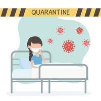 Frau mit Gesichtsmaske in Quarantäne für Coronavirus vektor