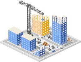 industriell konstruktion isometrisk i storstadsskyskrapor under konstruktion, hus och byggnader vektor