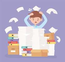 stressad affärsman, frustration och stress för kontorsarbete vektor