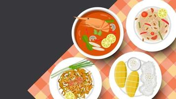 traditionell thailändsk matbakgrund och kopieringsutrymme för text, vektorillustration vektor
