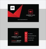 röd och svart geometrisk mall för visitkort vektor