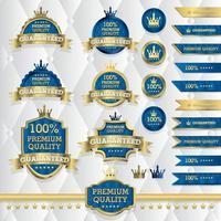 uppsättning klassiska guldetiketter, vintageelement, premiumkvalitet, begränsad upplaga, specialerbjudande, vektorillustration