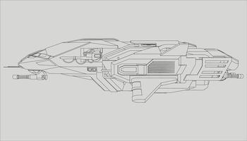 lineart från rymdskeppet vektor