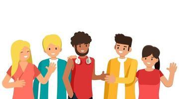 Gruppe junger Leute verschiedener Rassen und Kulturen lokalisiert auf weißem Hintergrund, flache Zeichentrickfiguren gesetzt, Vektorillustration vektor