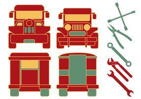 Philippine Jeepney Mechanikerwerkzeuge vektor