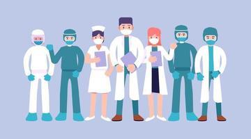 Coronavirus, Gruppe von Medizinern, Ärzte Zeichen in weißer medizinischer Gesichtsmaske, Stop Coronavirus-Konzept, Ärzteteam Arzt Krankenschwester Therapeut Chirurg professionelle Krankenhausangestellte, Vektor-Illustrator