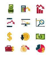 finansiell affärskris, aktiemarknad krasch ikonuppsättning