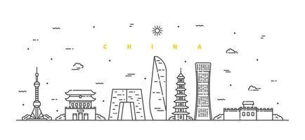 Kina landskap. modern platt linje liggande vektor. stadsbild linje konst illustration med byggnad, torn, skyskrapor, tempel. vektor illustration.