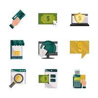 Zahlungen online, Geld und Finanztechnologie Icon Set vektor