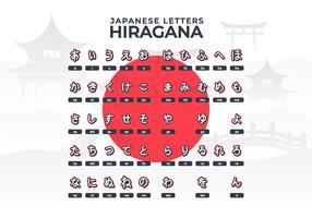 Japanisch Buchstaben Hiragana Alphabet vektor