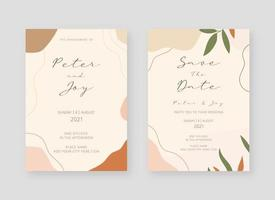 Einladungskartenvorlage. Satz Hochzeitseinladungskartenschablonendesign. Vektor dekorative Design Hintergrund.