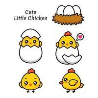 söt liten kyckling vektor