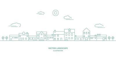 vektorlandskap med hus, byggnad, träd, himmel. förortslandskap. platt linje design vektor. vektor